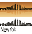 New York skyline in orange vector image