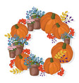 pumpkin and floral wreath decor autumn vector image