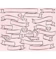 Set of ribbon over pink background vector image