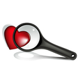 Valentine magnifying glass vector image vector image
