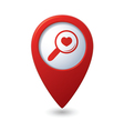 Zoom icon with heart on the red map pointer vector image
