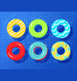 top view collection of rubber rings vector image vector image