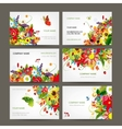 Postcard collection with floral bouquet for your vector image vector image