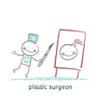 plastic surgeon with a scalpel gives a vector image