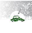 Car with snowbank on roof winter blizzard vector image vector image