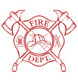Fire Dept Label Helmet with Crossed Axes vector image