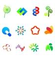 12 colorful symbols set 23 vector image