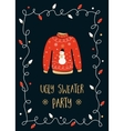 Ugly Sweater Party Invitation Card vector image
