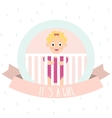 Cute baby girl Little baby in baby cot vector image