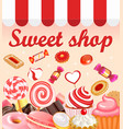 Background with sweet desserts food candy vector image