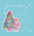 christmas dear santa tree santa claus letter blank vector image