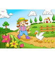 Cute little farmers girl at a farm vector image