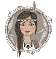 Cute native american girl and feathers frame vector image