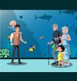 people looking at fish in the aquarium vector image
