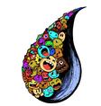 rainy wet doodle full colour vector image