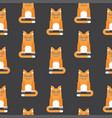 red cat seamless pattern black vector image