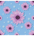 Seamless pattern with violet flowers and dots on vector image