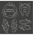 Line art mermaids logo set on grey background vector image
