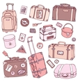 Collection of vintage suitcases vector image
