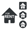 Rental house icon set monochrome vector image vector image