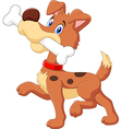 Cartoon funny dog with bone isolated vector image