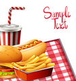 Paper design with fastfood on table vector image