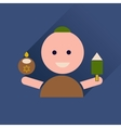 Flat icon with long shadow Jewish child vector image