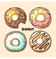 hand drawn donut vector image