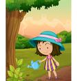 Girl watering plants vector image vector image