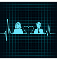 creative male female icon with electrocardiograph vector image