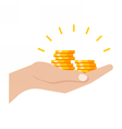 Gold Coins in Hand vector image