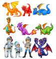 many dragons and knights on white background vector image