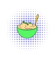 Mashed potatoes in a bowl icon comics style vector image