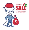 Promotional banner with Santa Claus on skis and vector image