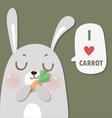 rabbit love carrot vector image