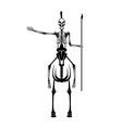 skeleton in spartan helmet with spear on the horse vector image