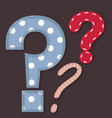 Set of stitched font - question mark vector image vector image