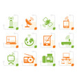 stylized communication and technology icons vector image