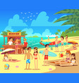 summer sea beach with sunbathing relaxing young vector image
