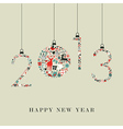 Christmas icons hanging 2013 new year vector image vector image