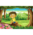A smiling child sitting above the stump vector image vector image