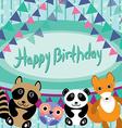 Funny animals Owl fox raccoon panda Happy birthday vector image
