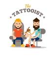 Tattooist makes a tattoo vector image