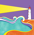 Lighthouse and sea waves Abstract seascape poster vector image vector image