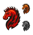 Red horse with bright flaming mane vector image vector image