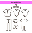 baby clothes line icons vector image