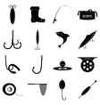 Fishing tools items icons set simple style vector image
