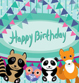 Funny animals Owl fox raccoon panda Happy birthday vector image