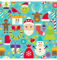 Merry Christmas Flat Design Blue Seamless Pattern vector image
