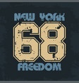 new york athletic wear with lettering freedom vector image